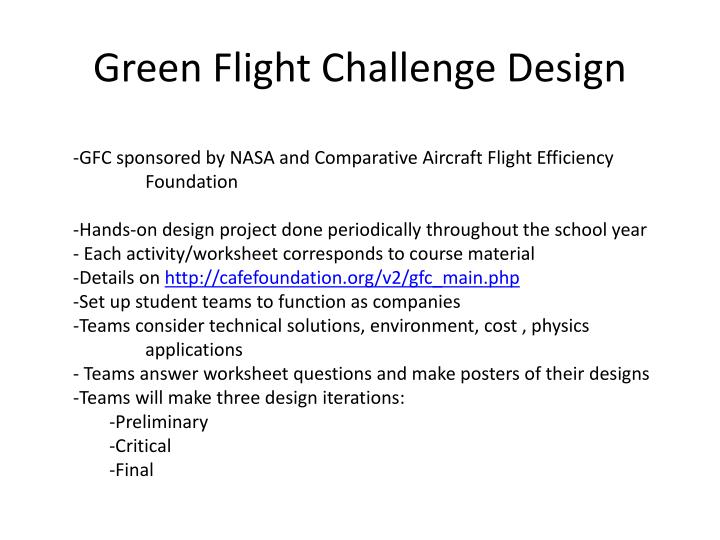 Green Flight Challenge Design