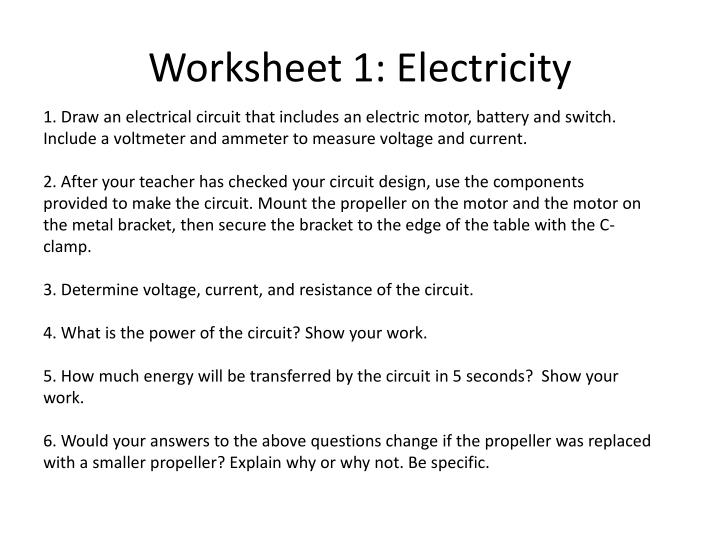 Worksheet 1: Electricity