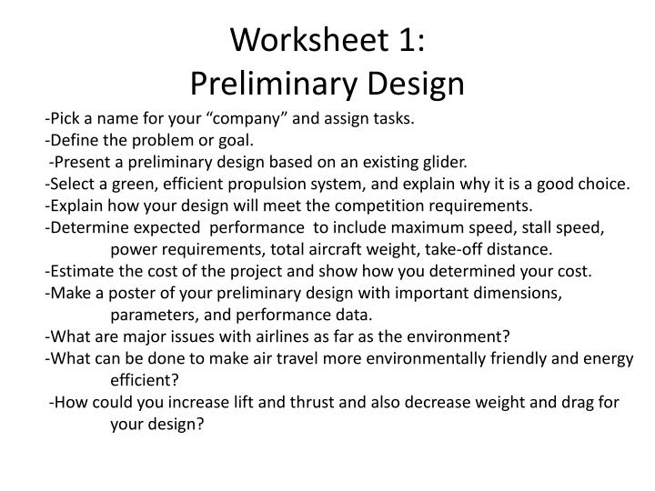 Worksheet 1: