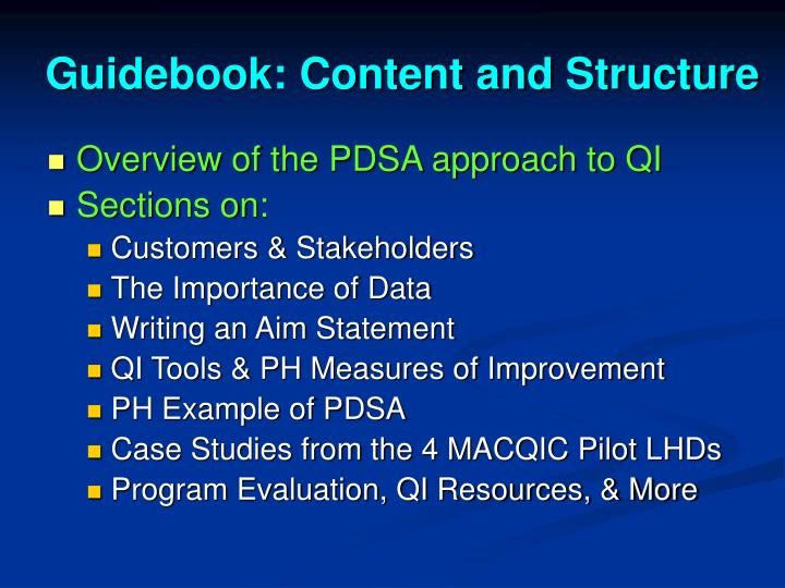 Guidebook: Content and Structure