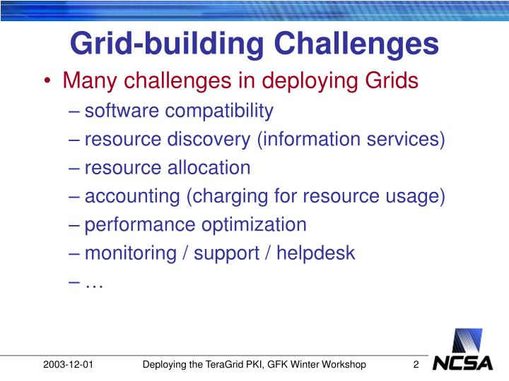 Grid building challenges