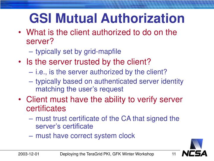 GSI Mutual Authorization