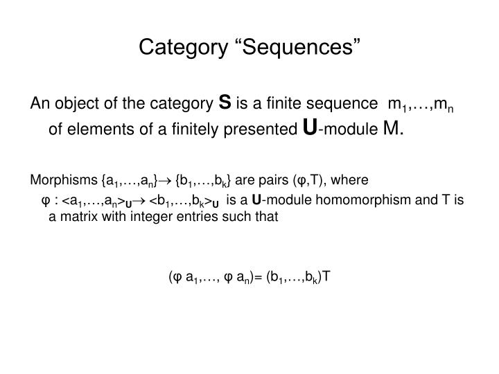 """Category """"Sequences"""""""