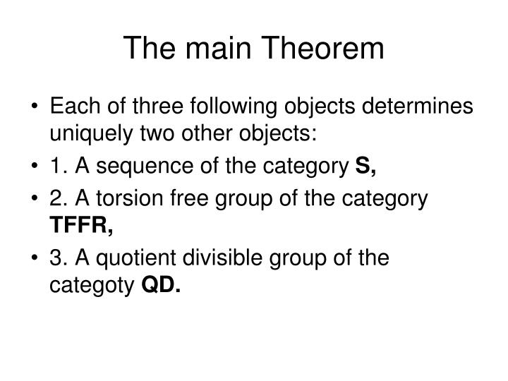 The main Theorem