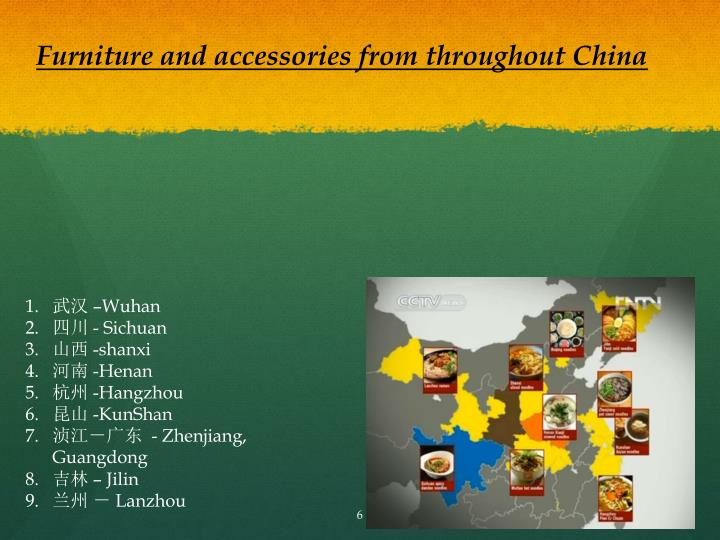 Furniture and accessories from throughout China