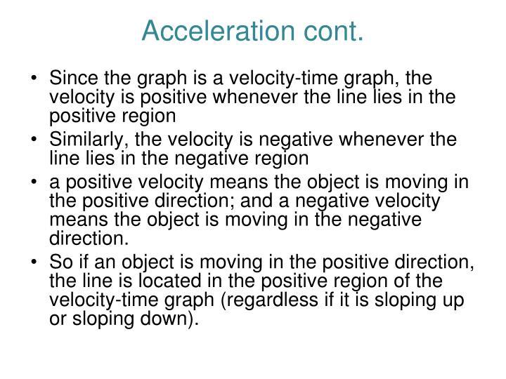 Acceleration cont.