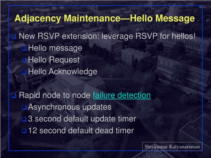 Adjacency Maintenance