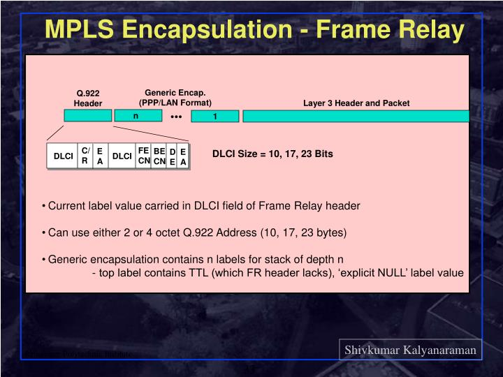 MPLS Encapsulation - Frame Relay