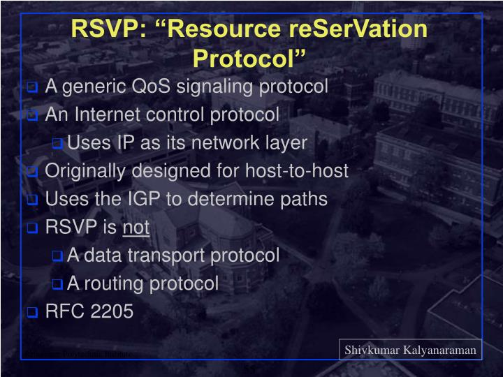 "RSVP: ""Resource reSerVation Protocol"""
