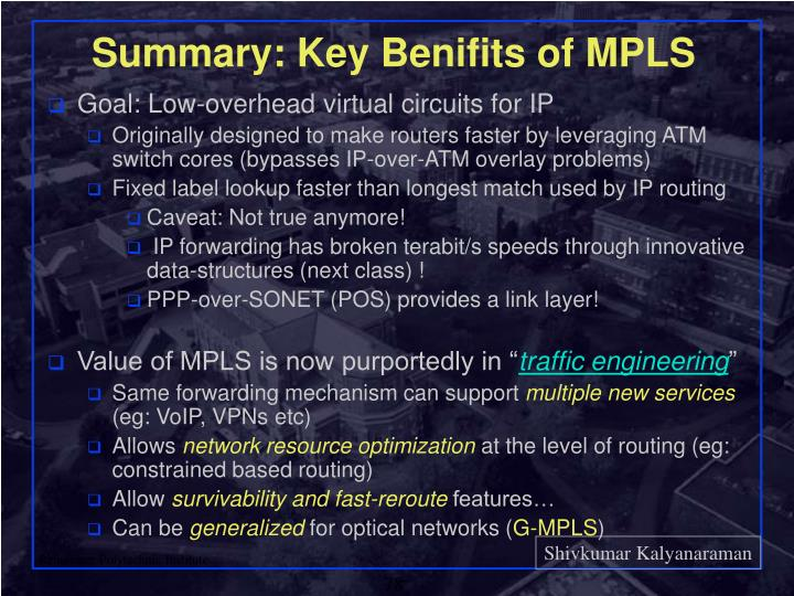 Summary: Key Benifits of MPLS