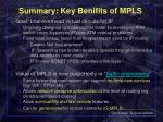 summary key benifits of mpls