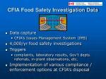 cfia food safety investigation data