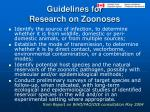 guidelines for research on zoonoses