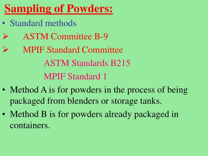 Sampling of Powders:
