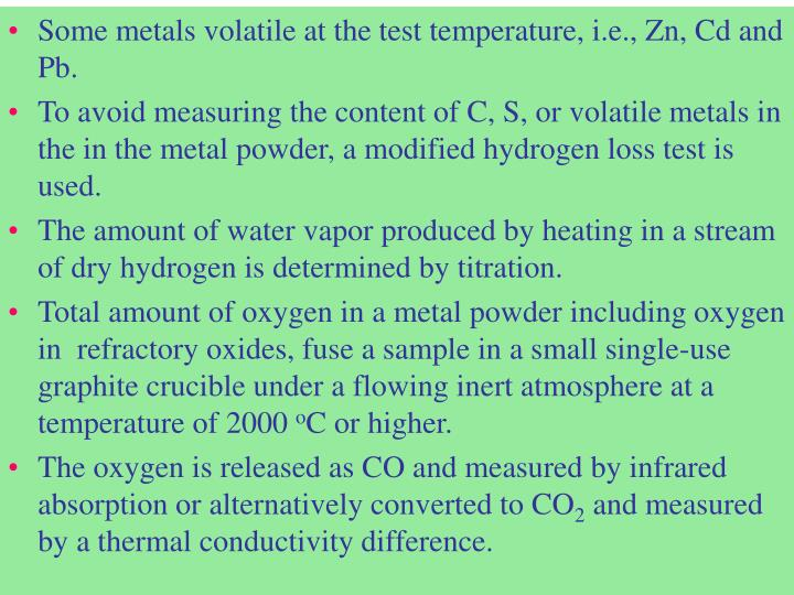 Some metals volatile at the test temperature, i.e., Zn, Cd and Pb.