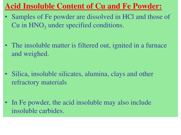 Acid Insoluble Content of Cu and Fe Powder: