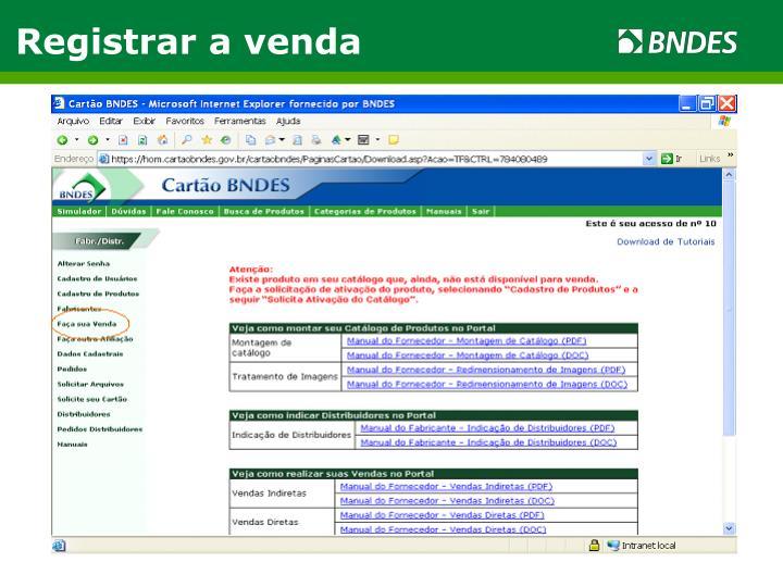 Registrar a venda