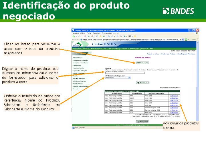 Identificação do produto negociado