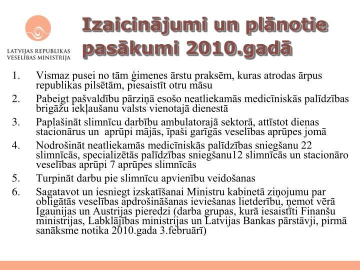 Izaicinājumi un plānotie pasākumi 2010.gadā