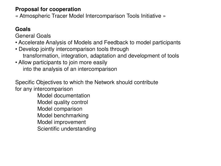 Proposal for cooperation
