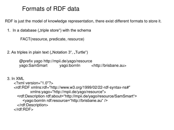 Formats of RDF data