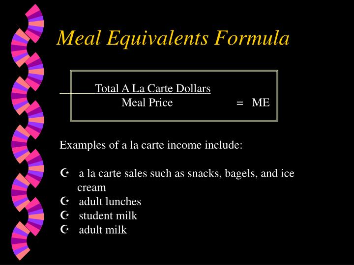 Meal Equivalents Formula
