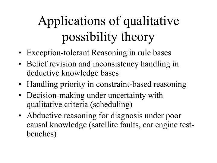 Applications of qualitative possibility theory