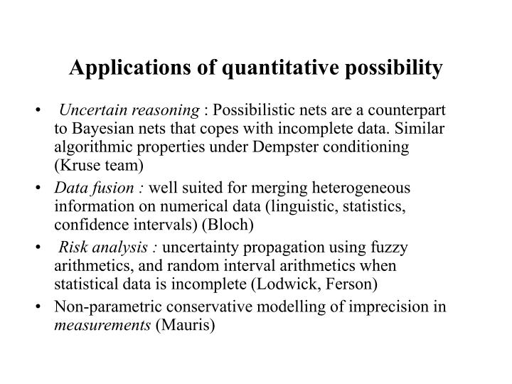 Applications of quantitative possibility