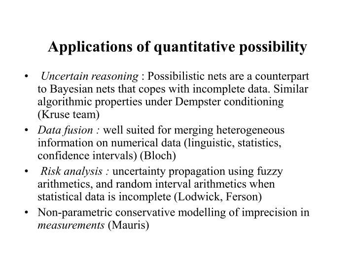 Applications of quantitative possibility