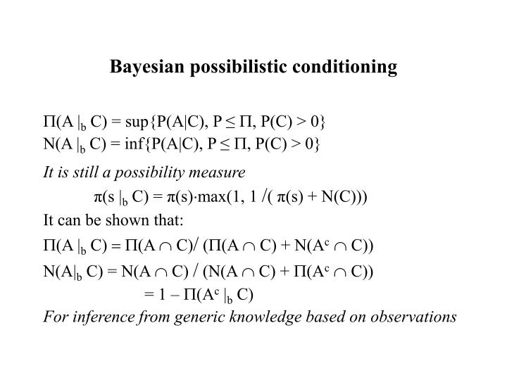 Bayesian possibilistic conditioning