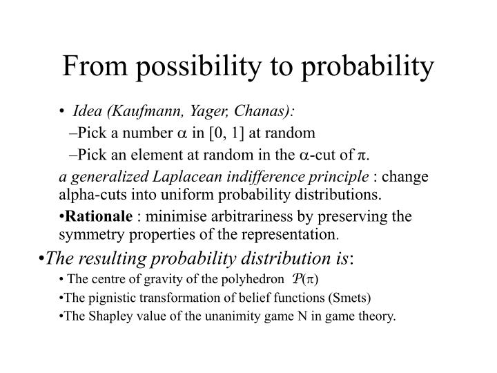 From possibility to probability