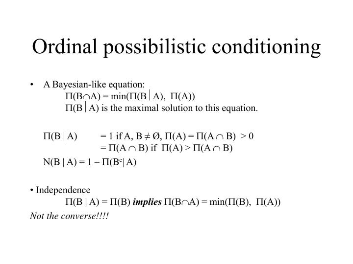 Ordinal possibilistic conditioning