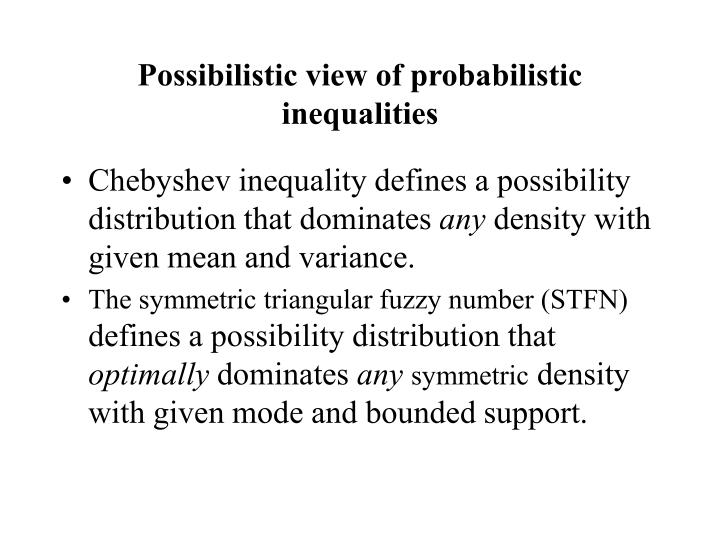 Possibilistic view of probabilistic inequalities
