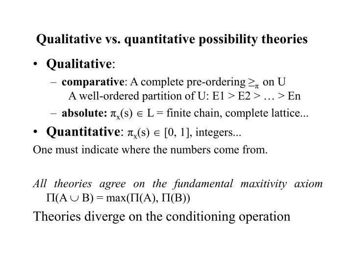 Qualitative vs. quantitative possibility theories