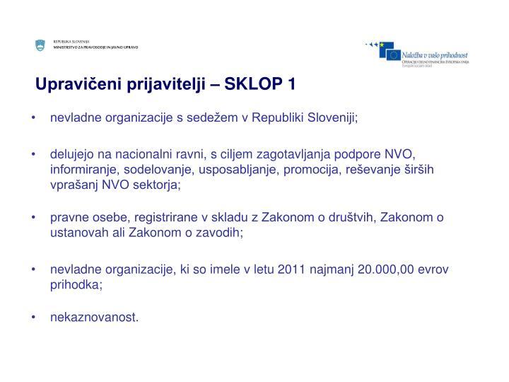 Upravičeni prijavitelji – SKLOP 1