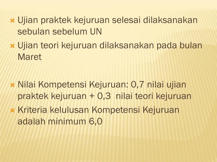 Ujian praktek kejuruan selesai dilaksanakan sebulan sebelum UN