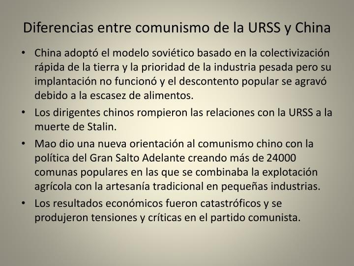 Diferencias entre comunismo de la URSS y China