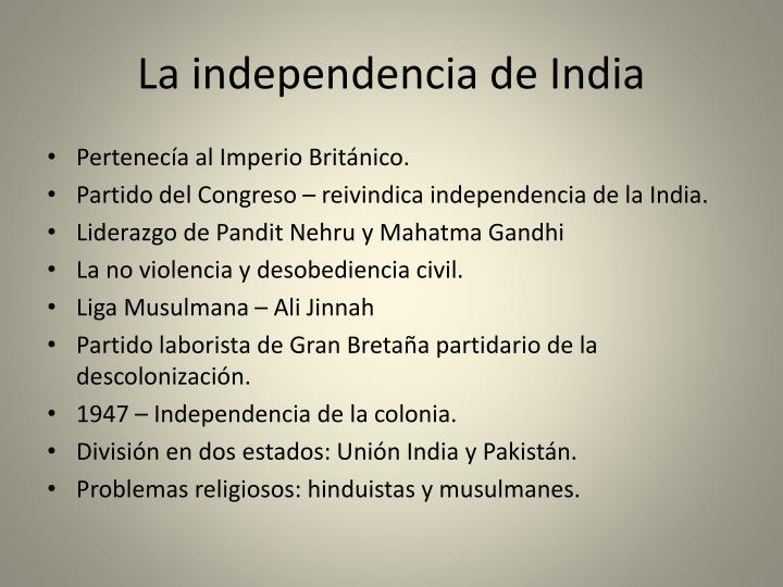 La independencia de India