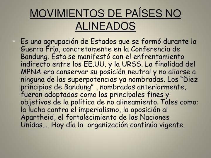 MOVIMIENTOS DE PAÍSES NO ALINEADOS