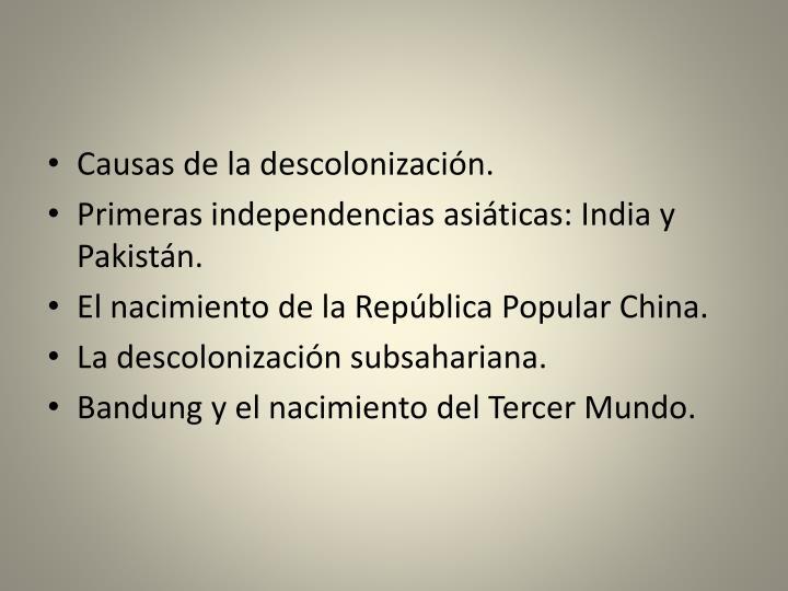 Causas de la descolonización.