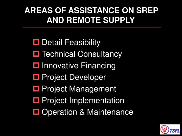 AREAS OF ASSISTANCE ON SREP