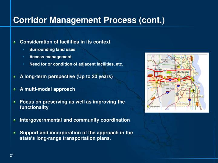 Corridor Management Process (cont.)
