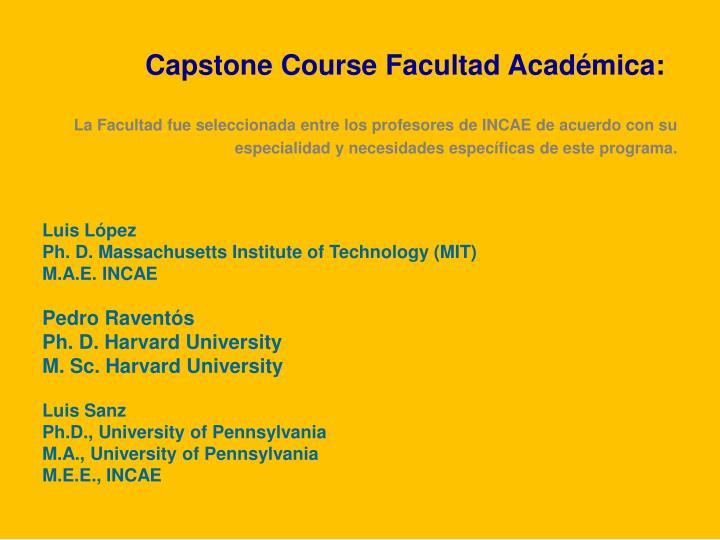 Capstone Course Facultad Académica: