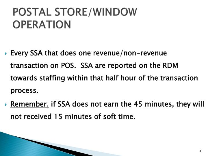 POSTAL STORE/WINDOW OPERATION