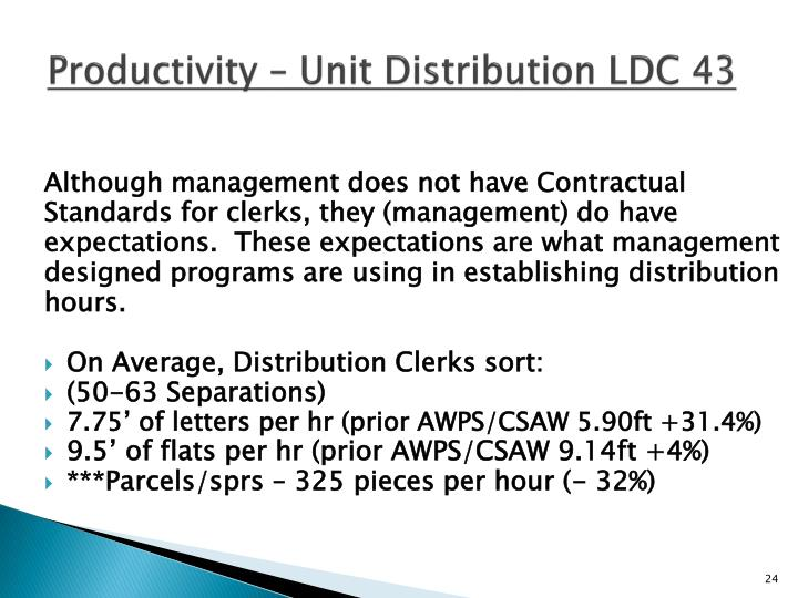 Productivity – Unit Distribution LDC 43