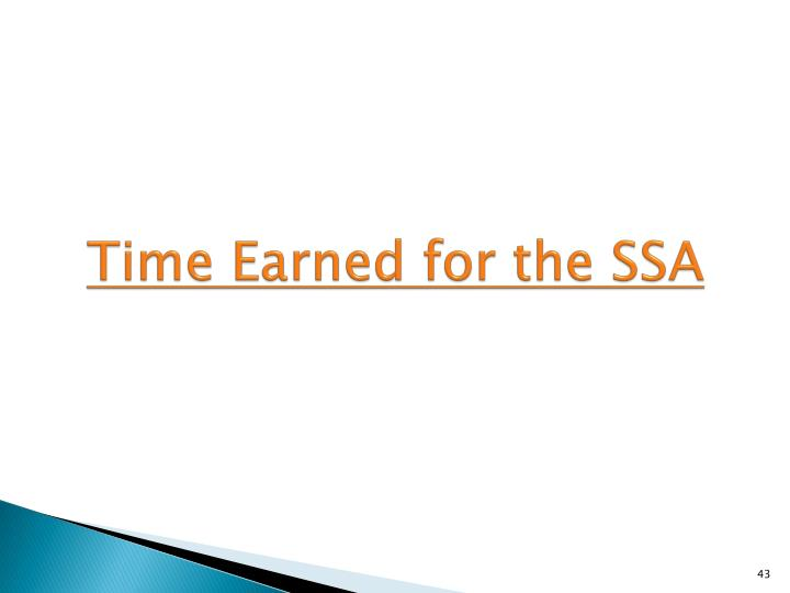 Time Earned for the SSA