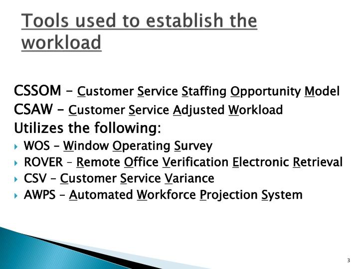 Tools used to establish the workload