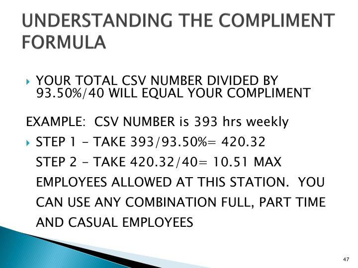 UNDERSTANDING THE COMPLIMENT FORMULA