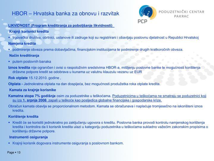 HBOR – Hrvatska banka za obnovu i razvitak