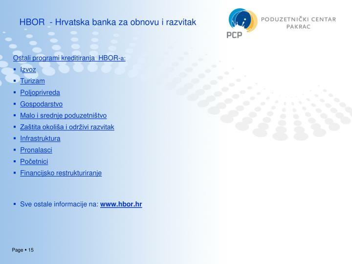 HBOR  - Hrvatska banka za obnovu i razvitak